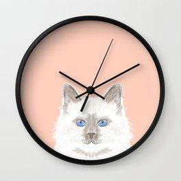 Roxie - White Birman Cat, Cute Kitten, White Cat Blue Eyes, Cell Phone Case, Cat Lady Gift Wall Clock
