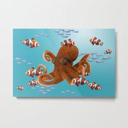 Octopus Underwater Clownfishes Metal Print