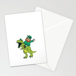 St Patricks Day Leprechaun Trex Dinosaur Kids Boys Stationery Cards