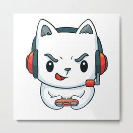 Gamer Kitten Kitten Video Game Metal Print