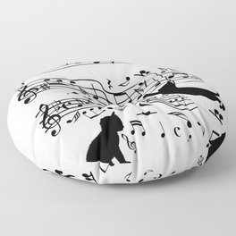 Cat Music Notes Clef Cats Lover Floor Pillow