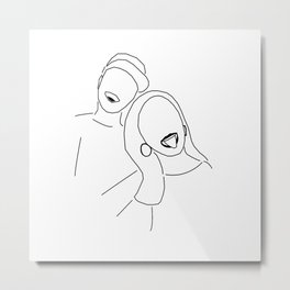 Minimal Line Art of Couple Metal Print