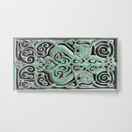 Green Deco Swirls Metal Print