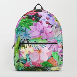 exotic flowers pattern Backpack