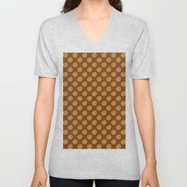 White on Chocolate Brown Spirals Unisex V-Neck