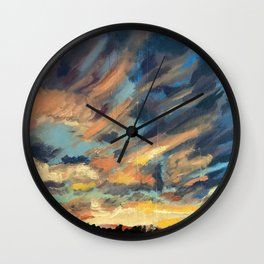 Pink and Blue Sunset Wall Clock