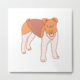 Cute Fox Terrier Dog Illustration Metal Print