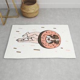 Peach Choco Iggy Dog wearing a Glazed Donut with Sprinkles - Doggy Doughnut - Kawaii Dessert Whippet Rug