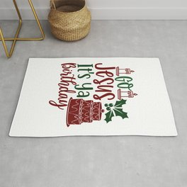 Go Jesus It'S Ya Birthday - Funny Christmas humor - Cute typography - Lovely Xmas quotes illustration Rug