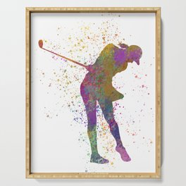 Female golf player competing in watercolor 01 Serving Tray