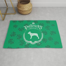 St. Patrick's Day Boston Terrier Funny Gifts for Dog Lovers Rug
