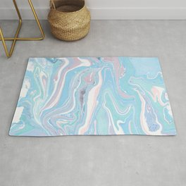 Blue aqua teal prim pink watercolor abstract marble Rug
