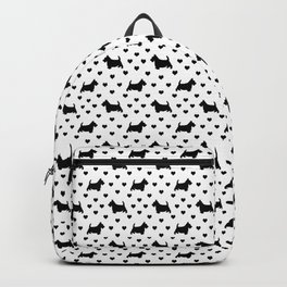 Cute Black Scottish Terriers (Scottie Dogs) & Hearts on White Background Backpack