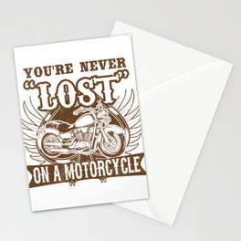 You're Never Lost on a Motorcycle Biker Stationery Cards