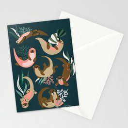 Otter Collection - Teal Palette Stationery Cards