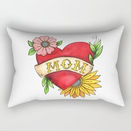 Mom Heart Tattoo Watecolor with Flowers Rectangular Pillow