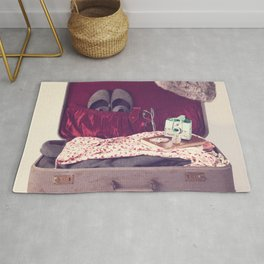 Vintage Journey Suitcase (Hers) (Retro and Vintage Still Life Photography)  Rug