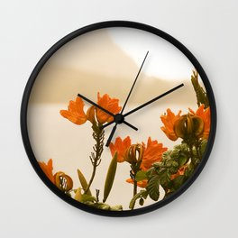 Hawaii's Bali Hai In Misty Morning Rain Showers Framed By Flowers Wall Clock