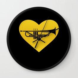 Trumpet Heart Musician Trumpeter Jazz Wall Clock