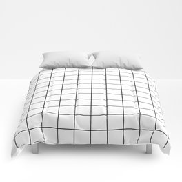Grid Pattern Stripes Lines Black and White Minimalist Geometric Stripe Line Comforters