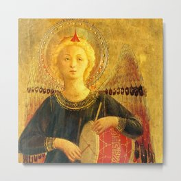 """Fra Angelico (Guido di Pietro) """"Music-making angel, Detail from the Linaioli Tabernacle"""" 6. Metal Print"""