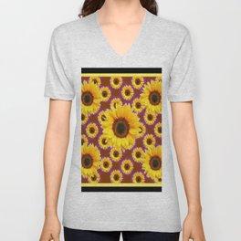 Brown & Violet Accents Color Sunflowers Pattern Black Art Unisex V-Neck