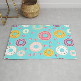 hearts and donuts blue Rug