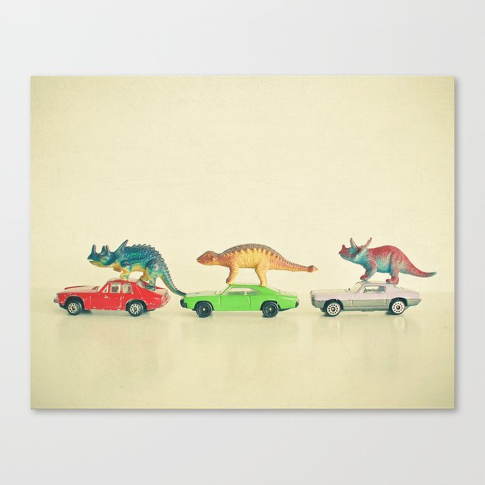 Dinosaurs Ride Cars Leinwanddruck