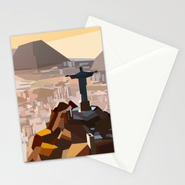Geometric Christ the Redeemer, Brazil Stationery Cards