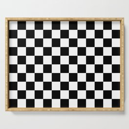 chess board, chessboard  black and white pattern Serving Tray