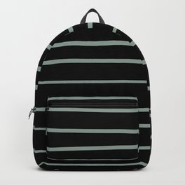 Valspar America Sea Green - Green Water - Zinc Blue Hand Drawn Horizontal Lines on Black Backpack