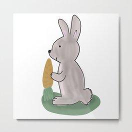 Bunny with carrot Metal Print