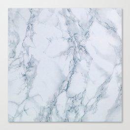 Elegant Creamy White Marble with Light Blue Veins Canvas Print