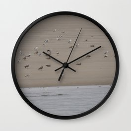 Gulls on the Beach of Maine Wall Clock
