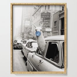 Yummy Blue Bubble Gum Llama taking a New York Taxi black and white photography Serving Tray