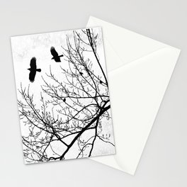 Crows Flying Birds in Tree Branches Black on White Stationery Cards