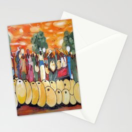 An African Village Market Square Stationery Cards