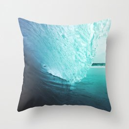 Tube Wave - Shorebreak Wave, Ocean Wave, Perfect Wave, Blue Wave, Surf Wave, Cornwall Wave Throw Pillow