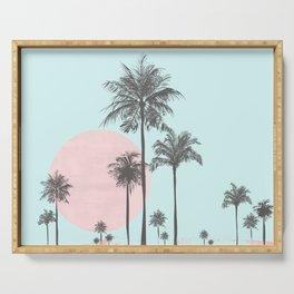 Beachfront palm tree soft pastel sunset graphic Serving Tray