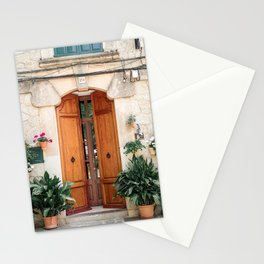 Pretty old door with plants in Valldemossa, Mallorca Stationery Cards