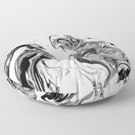 Suminagashi black and white marble spilled ink ocean swirl watercolor painting Floor Pillow