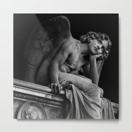 Giulio Monteverde and the Angel of the Night in Campo Verano black and white photograph / art photography Metal Print