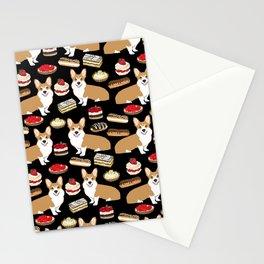 Corgi Patisserie Bakery French Parisian food, tarts, eclair, napoleon, cute food design Stationery Cards