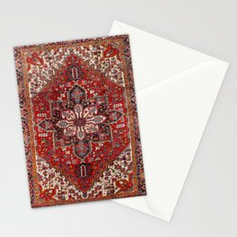 Persia Heriz 19th Century Authentic Colorful Blue Red Cream Vintage Patterns Stationery Cards