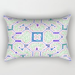 The Song to Support Spiritual Growth - Traditional Shipibo Art - Indigenous Ayahuasca Patterns Rectangular Pillow