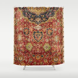 Indian Boho II // 16th Century Distressed Red Green Blue Flowery Colorful Ornate Rug Pattern Shower Curtain