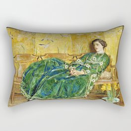 Frederick Childe Hassam - April, The Green Gown - Digital Remastered Edition Rectangular Pillow