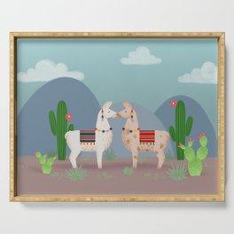 Cute Llamas Illustration Serving Tray