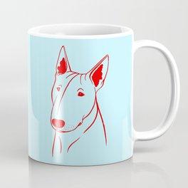 Bull Terrier (Light Blue and Red) Coffee Mug