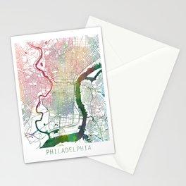 Philadelphia Map Watercolor by Zouzounio Art Stationery Cards